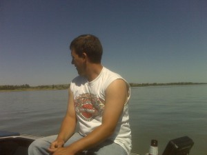 my friend dan on his boat